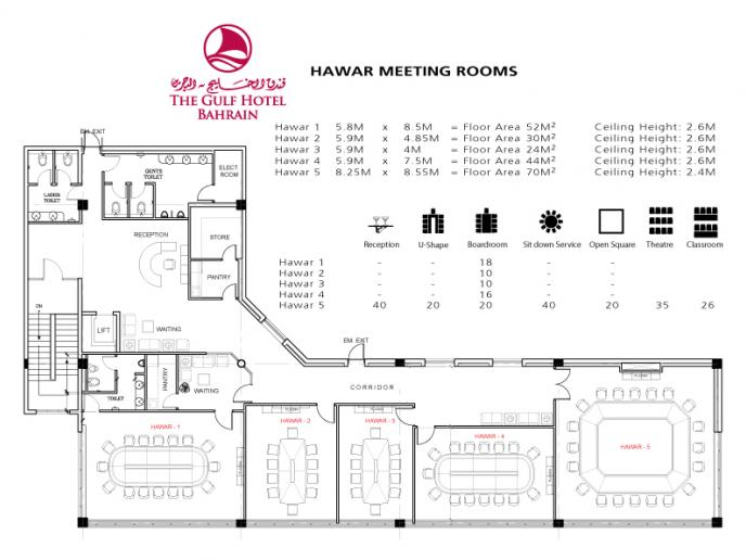 The venues floor plans | Gulf Hotel Bahrain