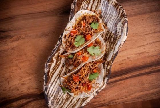 """""""Ghoozi Tacos: Lamb shoulder, ma'abooch aioli, crispy onions """""""