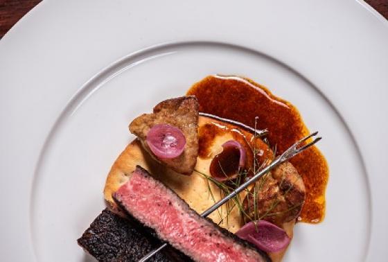"""Tikka: Beef Tenderloin, foie gras, khubiz, black lime"""
